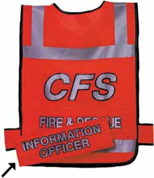 safety response tabard with removable identification tags